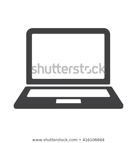 Foto d'archivio: Laptop Screen Simple Icon On White Background