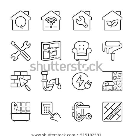 fekete · ikonok · otthon · javítás · ház · festmény - stock fotó © zelimirz