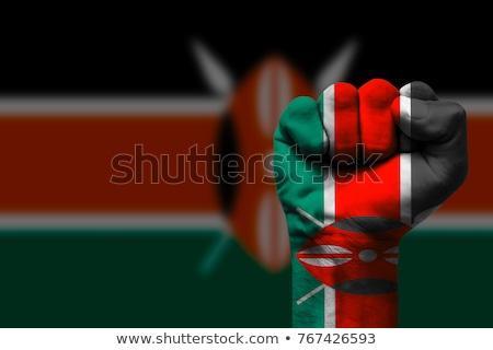 Insanlar bayrak Kenya yalıtılmış beyaz kalabalık Stok fotoğraf © MikhailMishchenko