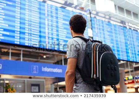Stok fotoğraf: Genç · bekleme · havaalanı · yalıtılmış · beyaz · adam