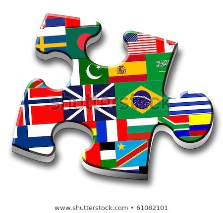 Stockfoto: Mexico · Verenigd · Koninkrijk · vlaggen · puzzel · vector · afbeelding