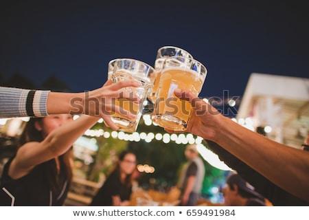 bril · verschillend · hout · bureau · bier · glas - stockfoto © fisher