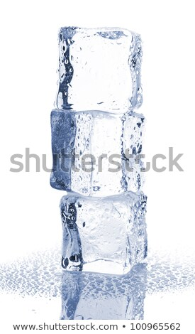 heap of three melting ice cubes with water and reflection stock photo © shawnhempel