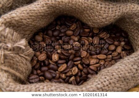 zak · vol · koffiebonen · groen · blad · achtergrond · zak - stockfoto © dla4