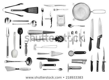 black kitchen utensils isolated on white stock photo © ozaiachin