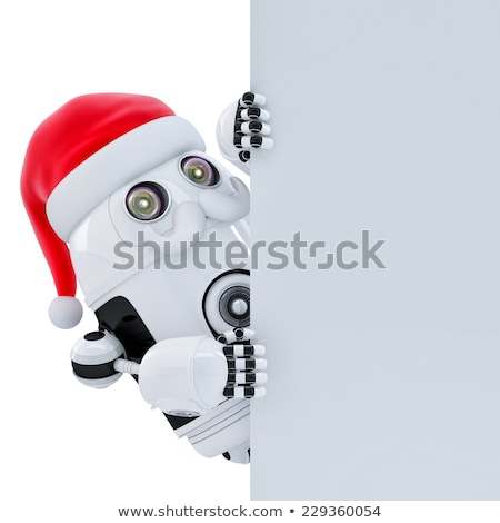 robot santa pointing at white banner isolated contains clipping path stock photo © kirill_m