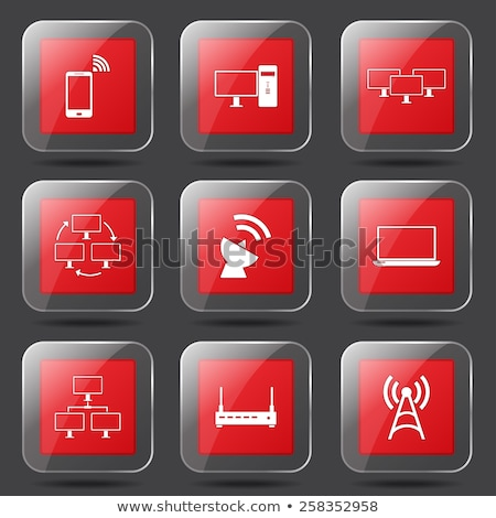 Telecom Communication Square Vector Red Icon Design Set 2 stock photo © rizwanali3d