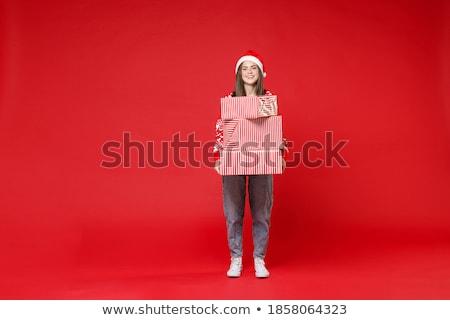 retrato · casual · mujer · caja · de · regalo - foto stock © deandrobot