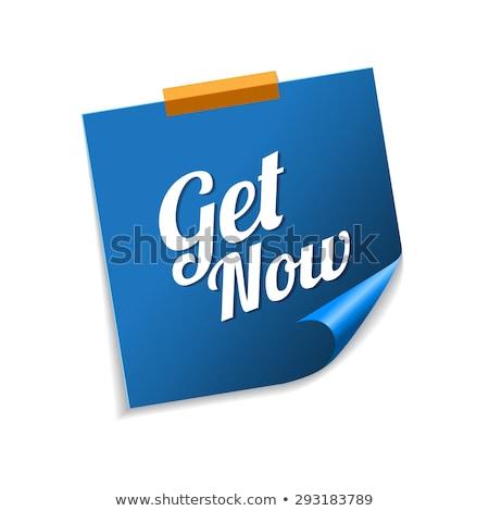 Teraz niebieski karteczki wektora ikona projektu Zdjęcia stock © rizwanali3d