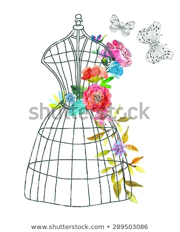 Doodle mannequin with watercolor flowers and butterfly Stock photo © Elmiko