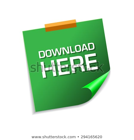 Download Here Green Sticky Notes Vector Icon Design Stock photo © rizwanali3d