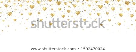 Valentijn goud harten grens geïllustreerd 3D Stockfoto © Irisangel