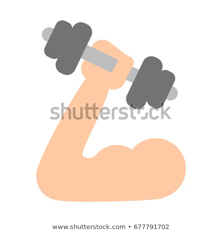 arm muscle with dumbbell sketch icon stock photo © rastudio