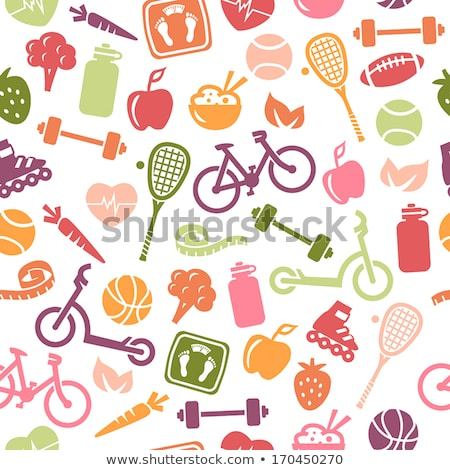 seamless pattern with healthy lifestyle icons stock photo © netkov1