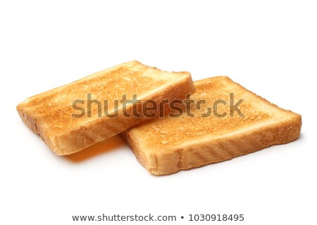Iki dilimleri tost plaka gıda ekmek Stok fotoğraf © fresh_5449486