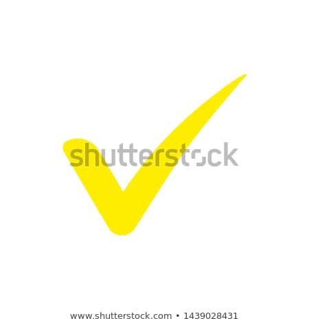 tick mark yellow vector icon button stock photo © rizwanali3d