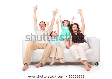 Eltern Kinder Hände weiß Leder Sofa Stock foto © Paha_L