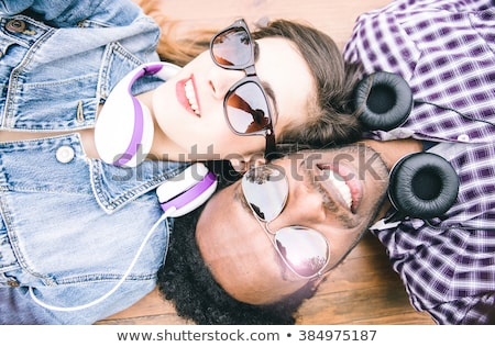 Attractive Mixed Race Couple Taking Self Portraits Stock photo © feverpitch