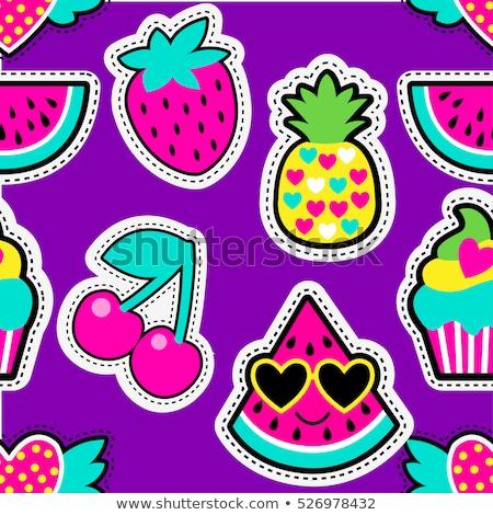 Vektor Sammlung Wiederholung Erdbeere Muster Stock foto © freesoulproduction