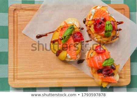 Juicy bruschettas served Stock photo © badmanproduction