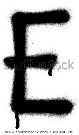 sprayed e font graffiti in black over white stock photo © melvin07