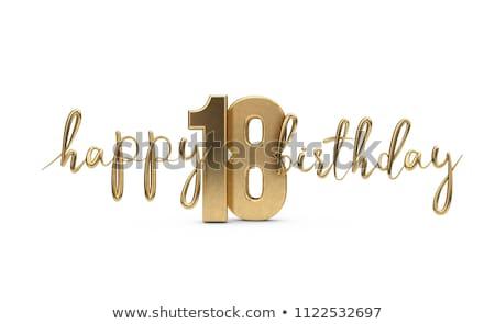 Stok fotoğraf: Doğum · günü · sayılar · çim · parti · arka · plan · imzalamak