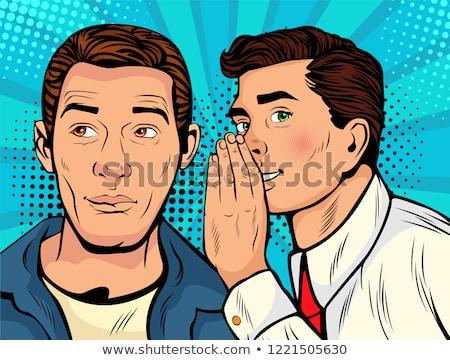 Man whispering gossip Stock photo © deandrobot