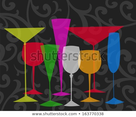 rows of champagne glasses with color cocktails stock photo © dariazu
