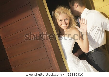 Braut Bräutigam Pool Hochzeit Paar Liebe Stock foto © artfotodima