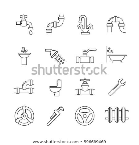 Wody rurociąg line ikona internetowych Zdjęcia stock © RAStudio