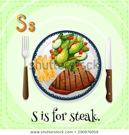Stock photo: Flashcard letter S is for salad