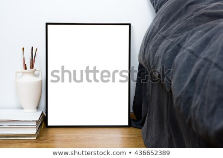 Empty blank classic black frame on a floor, minimal home bedroom Stock photo © manera