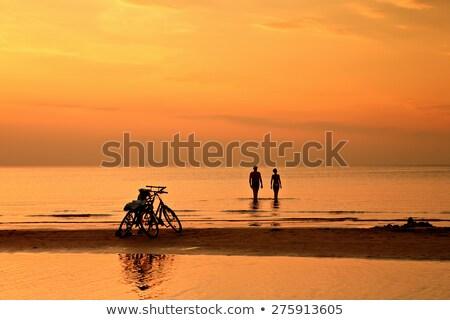 Amor ciclismo pôr do sol ilustração mulher homem Foto stock © adrenalina