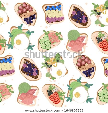 Stockfoto: Heerlijk · smakelijk · avocado · eieren · tomaat · kaas