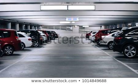 Subterráneo aparcamiento coches piso blanco columnas Foto stock © bezikus