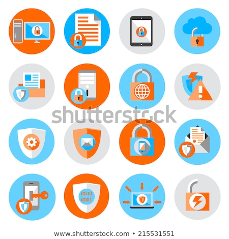 Base de données sécurité icône design cadenas isolé Photo stock © WaD