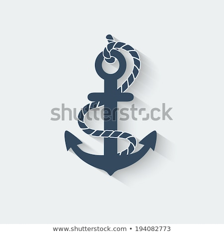 white and blue vector anchors with shadows stock photo © adrian_n