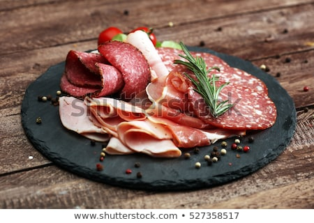 Stock photo: salami and cured ham