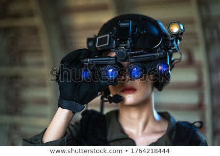 army girl in night lights stock photo © seenad