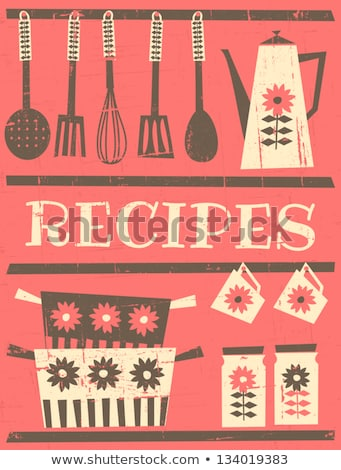 Stock photo: set of old fashioned recipe card