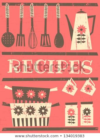 set of old fashioned recipe card stock photo © kariiika