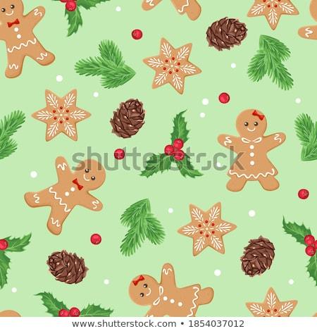 gingerbread cookies vector seamless pattern stock photo © yopixart