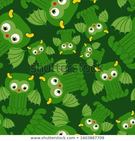 octopus seamless pattern vector background green kraken retro stock photo © maryvalery