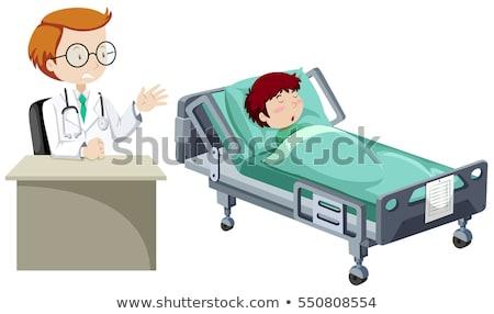 больным · мальчика · Cartoon · иллюстрация · Cute · кровать - Сток-фото © bluering