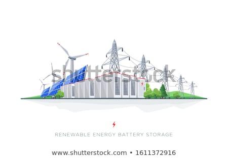 Energiecentrale transformator voltage bouw technologie metaal Stockfoto © papa1266