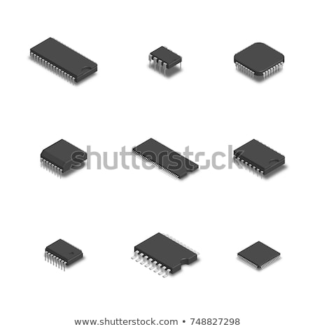 Illustration of computer microchip isolated white background Stock photo © tussik