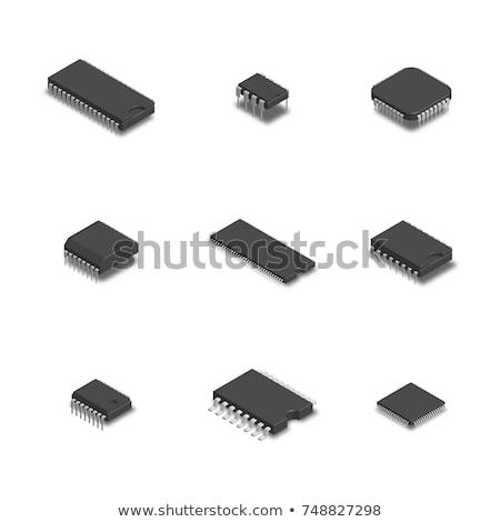 Illustrazione computer microchip isolato bianco illustrazione 3d Foto d'archivio © tussik