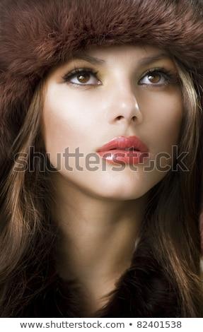 Gyönyörű barna hajú báj tél szőr előkelő Stock fotó © zdenkam