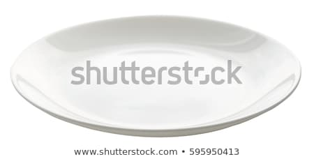 boş · oval · beyaz · plaka · temizlemek - stok fotoğraf © Digifoodstock