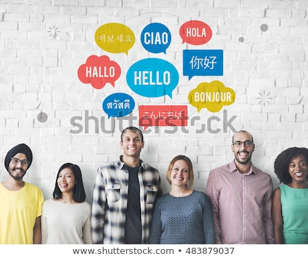 ázsiai emberek üdvözlet különböző nyelvek illusztráció Stock fotó © bluering